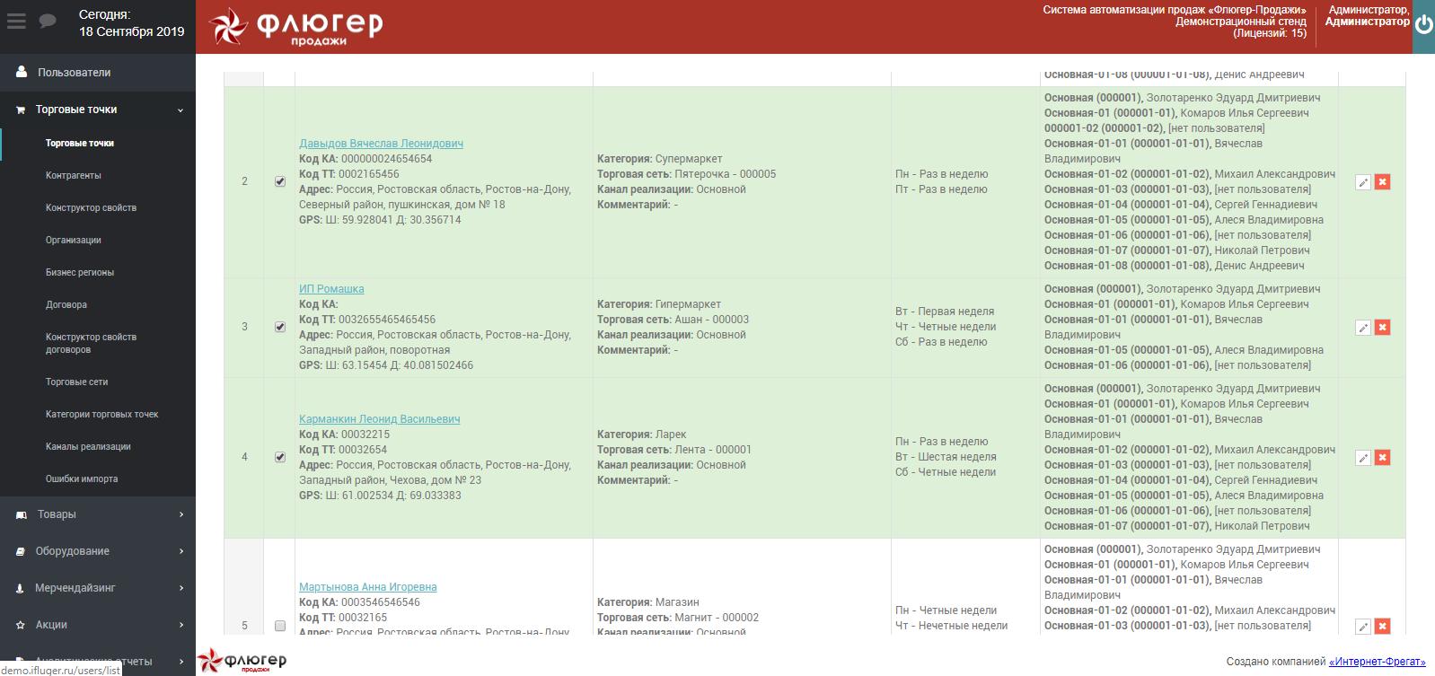 Просмотр списка торговых точек, по которым требуется проверка измененной информации