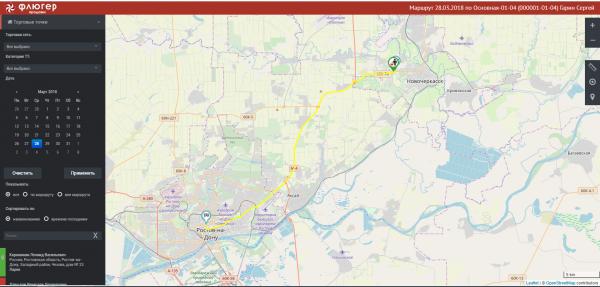 Информация о посещениях точек на карте